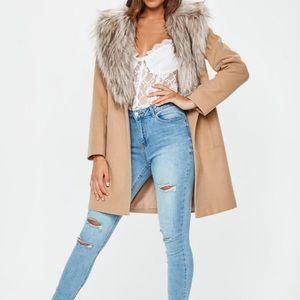 Nude faux fur collar coat